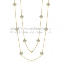 Van Cleef & Arpels Vintage Alhambra Necklace Yellow Gold 10 Motifs With Gray Mother Of Pearl