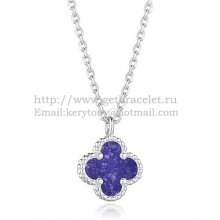 Van Cleef & Arpels Sweet Alhambra Pendant White Gold With Lapis Stone Mother Of Pearl 9mm