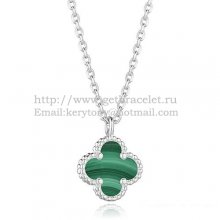 Van Cleef & Arpels Sweet Alhambra Pendant White Gold With Malachite Mother Of Pearl 9mm