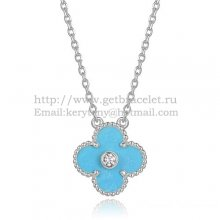 Van Cleef & Arpels Vintage Alhambra Pendant White Gold With Turquoise Mother Of Pearl Round Diamonds