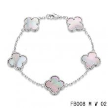 Replica Van Cleef & Arpels Alhambra Bracelet In White With 5 Gray Clover