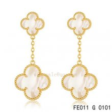 Fake Van Cleef & Arpels Alhambra Yellow Gold Earrings White Mother Of Pearl
