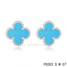 Fake Van Cleef & Arpels Clover Turquoise White Gold Earrings