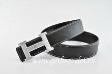 Hermes Reversible Belt Black/Black Classics H Togo Calfskin With 18k Silver With Logo Buckle