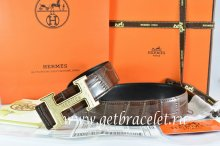 Hermes Reversible Belt Brown/Black Crocodile Stripe Leather With18K Gold Bamboo Strip Logo H Buckle