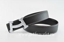 Hermes Reversible Belt Black/Black Fashion H Togo Calfskin With 18k Silver Buckle