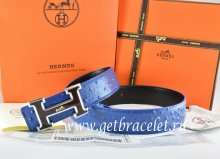Hermes Reversible Belt Blue/Black Ostrich Stripe Leather With 18K Black Silver White Logo H Buckle