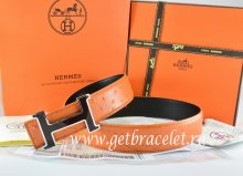 Hermes Reversible Belt Orange/Black Ostrich Stripe Leather With 18K Black Silver Narrow H Buckle