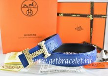 Hermes Reversible Belt Blue/Black Ostrich Stripe Leather With 18K Gold Spot Stripe H Buckle