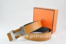 Hermes Reversible Belt Light Coffe/Black Togo Calfskin With 18k Silver H Buckle