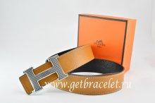 Hermes Reversible Belt Light Coffe/Black Togo Calfskin With 18k Gold Wave Stripe H Buckle
