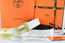 Hermes Reversible Belt White/Black Togo Calfskin With 18k Drawbench Gold H Buckle