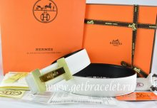 Hermes Reversible Belt White/Black Togo Calfskin With 18k Gold Logo H Buckle