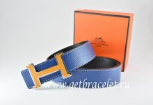 Hermes Reversible Belt Dark Blue/Black Togo Calfskin With 18k Orange Silver H Buckle