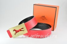 Hermes Reversible Belt Red/Black Togo Calfskin With 18k Hollow Horse Gold Buckle