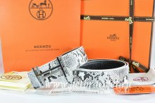 Hermes Reversible Belt White/Black Snake Stripe Leather With 18K Silver H au Carre Buckle