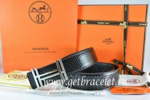 Hermes Reversible Belt Black/Black Snake Stripe Leather With 18K Silver H au Carre Buckle