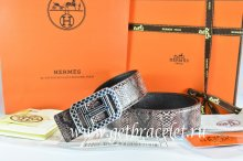 Hermes Reversible Belt Brown/Black Snake Stripe Leather With 18K Silver Lace Strip H Buckle
