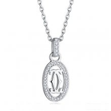 Cartier Logo Double C Necklace In White Gold With Diamonds