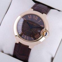 Ballon Bleu de Cartier large watch black dial 18K pink gold brown leather strap