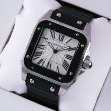 Cartier Santos 100 mens watch replica W20121U2 stainless steel black rubber strap