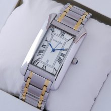 Cartier Tank Americaine mens watch replica two-tone 18K yellow gold and steel
