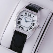 Cartier Tortue small diamond ladies watch replica stainless steel black leather strap
