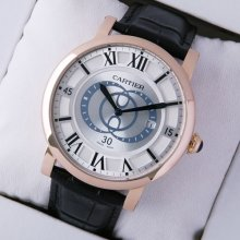 Rotonde de Cartier large silver dial black leather strap pink gold replica watch for men
