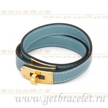 Hermes Rivale Double Wrap Bracelet Blue With Gold