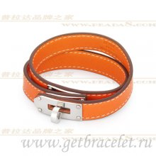 Hermes Rivale Double Wrap Bracelet Orange With Silver