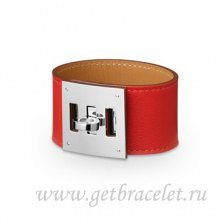 Hermes Kelly Dog Bracelet Red With Silver