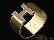 Hermes Brown Enamel Clic H Bracelet Narrow Width (33mm) In Gold