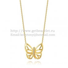 Van Cleef Arpels Butterfly Hollowing Carving Pendant Yellow Gold With Diamond