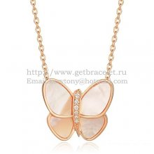 Van Cleef & Arpels Flying Butterfly Pendant Necklace Pink Gold With White Mother Of Pearl Diamonds