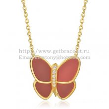 Van Cleef & Arpels Flying Butterfly Pendant Necklace Yellow Gold With Red Onyx Diamonds