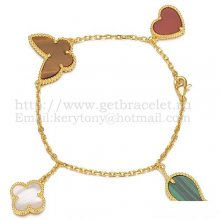 Van Cleef & Arpels Lucky Alhambra 4 Motifs Bracelet Yellow Gold With Stone Combination 003