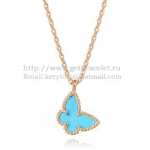 Van Cleef Arpels Lucky Alhambra Butterfly Necklace Pink Gold With Turquoise Mother Of Pearl
