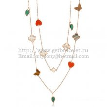 Van Cleef & Arpels Lucky Alhambra Long Necklace Pink Gold 12 Motifs Stone Combination