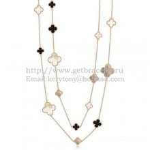 Van Cleef & Arpels Magic Alhambra Necklace Pink Gold 16 Motifs With Black Agate White Gray Mother Of Pearl