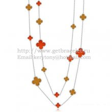 Van Cleef & Arpels Magic Alhambra Necklace White Gold 16 Motifs With Red Onyx Tiger's Eye Mother Of Pearl