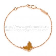 Van Cleef & Arpels Sweet Alhambra Butterfly Bracelet Pink Gold With Tiger's Eye Mother Of Pearl