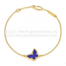 Van Cleef & Arpels Sweet Alhambra Butterfly Bracelet Yellow Gold With Lapis Stone Mother Of Pearl