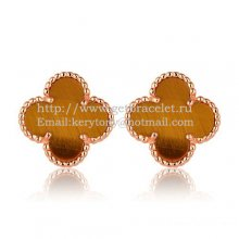 Van Cleef & Arpels Sweet Alhambra Earrings 15mm Pink Gold With Tiger's Eye Mother Of Pearl