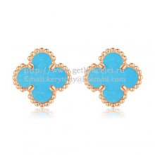 Van Cleef & Arpels Sweet Alhambra Earrings 9mm Pink Gold With Turquoise Mother Of Pearl
