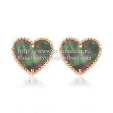 Van Cleef & Arpels Sweet Alhambra Heart Earrings Pink Gold With Gray Mother Of Pearl
