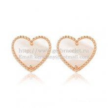 Van Cleef & Arpels Sweet Alhambra Heart Earrings Pink Gold With White Mother Of Pearl