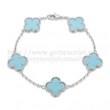 Van Cleef & Arpels Vintage Alhambra Bracelet 5 Motifs White Gold With Turquoise Mother Of Pearl