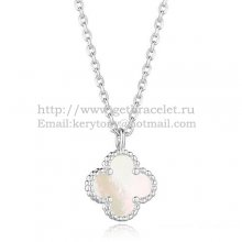 Van Cleef & Arpels Sweet Alhambra Pendant White Gold With White Mother Of Pearl 9mm
