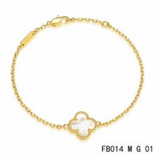 Fake Van Cleef & Arpels Sweet Alhambra Bracelet In Yellow Gold With White Mother-Of-Pearl