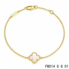 Fake Van Cleef & Arpels Sweet Alhambra Bracelet In Yellow Gold With Gray Mother-Of-Pearl